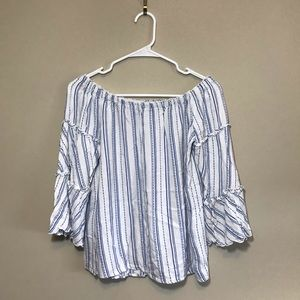 Drew off the shoulder striped blouse